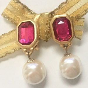 Ruby Pearl Drop Statement Earrings Clip On Gold